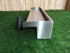 Stainless Steel Water Blade with spout overhang - BSP threaded socket bottom inlet. Supplied with multi step plastic hosetail fitting to suit pond pipe. Pool Accessories, Water Features In The Garden, Koi, Steel Water, Back Gardens, Blade, Garden Design, Backyard, Stainless Steel