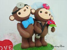 Custom Monkey Doctor Love Wedding Cake Topper with by Garden4Arts, $75.00