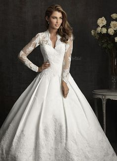 Wedding Dresses - $304.09 - Ball-Gown V-neck Cathedral Train Lace Wedding Dress With Appliques Lace Bow(s) (0025055907)