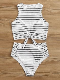 White Horizontal Striped Knot Tankini Swimsuit With Ruched Bikini Bottom Tankini Swimsuits bikini Bottom Horizontal Knot Ruched Striped swimsuit tankini White Bathing Suits For Teens, Summer Bathing Suits, Swimsuits For Teens, Tankini Swimsuits For Women, Bathing Suit Bottoms, Cute Bathing Suits, Cute Swimsuits High Waisted, Cheap Swimsuits, High Bikini Bottoms