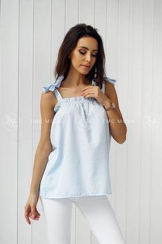 Dámska modrá blúzka One Shoulder, Blouse, Tops, Women, Fashion, Moda, Fashion Styles, Blouses, Fashion Illustrations