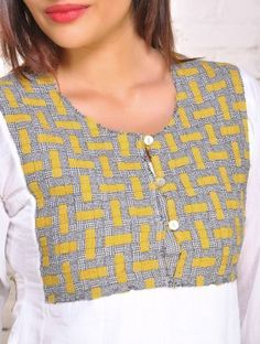 Textured Yoke Mulmul Panelled Tunic