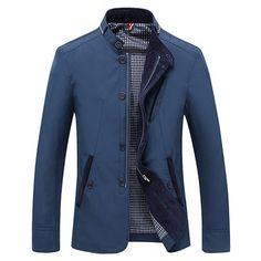 Casual Business Personality Stand Collar With Zipper Slim Fit Jacket For Men - Newchic Mobile.