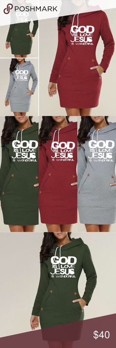 "Trendy God Is Love Sweater Dress Sport this trendy sweater dress and proclaim that ""God is Love"" and ""Jesus is Wonderful"".  Size Medium - Light Gray Size Large - Hunter Green Size XL - Burgundy  Sizing runs a bit small.  Show your love for the God Who loves you more! Dresses Long Sleeve"