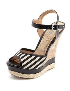 Striped canvas cork wedge sandal :: Charlotte Russe