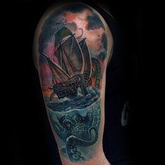 100 Kraken Tattoo Designs For Men