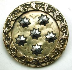 Lg Sz Antique Brass Button w/ 6 Cut Steel Stars Design - 1 & 3/8""