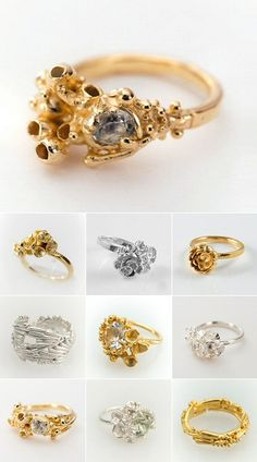 "gorgeous organic rings from the ""Kelp,"" ""Seaweed"" and ""Blossom"" collections by UK jeweller Sarah Brown"