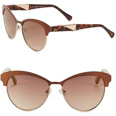 Vince Camuto 57MM Round Sunglasses ($85) ❤ liked on Polyvore featuring accessories, eyewear, sunglasses, gold, uv protection glasses, horn glasses, retro glasses, retro sunglasses and retro round sunglasses