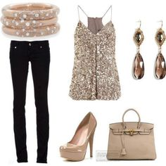 sequined tank with black skinny jeans and taupe patent pumps