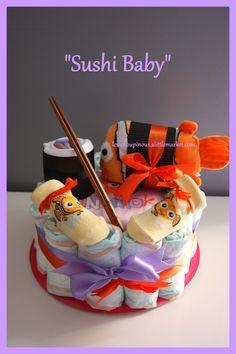 Cadeau original naissance baptême gâteau de couches fille : Decorazioni per camerette bambini di les-choupinous Sushi, Children, Cake, Original Gifts, Child, Young Children, Boys, Kids, Mudpie
