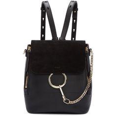 Chloé Black Medium Faye Backpack (€1.830) ❤ liked on Polyvore featuring bags, backpacks, daypack bag, studded backpack, logo backpacks, detachable backpack and logo bags