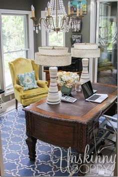 Pretty home office! You have GOT to see the rest of this gorgeous home! So many details that make it a beautiful home.