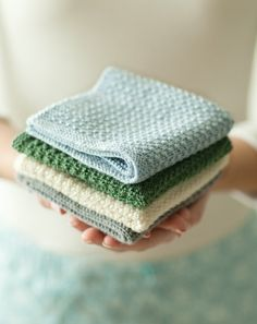 Knitted washcloths ... I especially like the blue one.