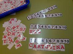 Formar palabras y contar el número de letras.Un polsim de sal