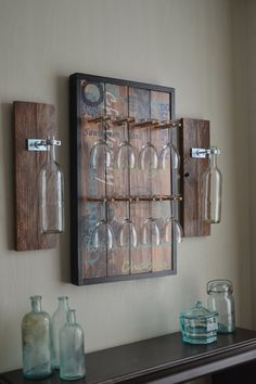 Hand Painted Wine Glass Rack with Matching Wine Vase Sconces and 8 Glasses (Cherry Stain)