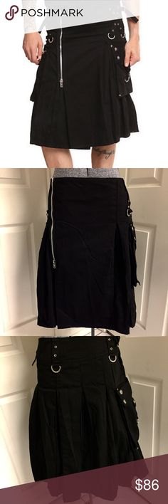 """🆕 TRIPP NYC kilt New with tag, never worn! MEN'S black kilt, 100% cotton, machine washable, 25"""" long, side cargo pockets, front zippered closure. Size 2x, waist 39-41 inches, hip 45-48 inches. 💀 GOTH, PUNK, ROCKABILLY, Renaissance Festival wear, Halloween costume. Tripp nyc Other"""