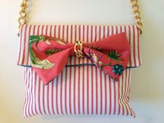 Purse Handbag in Stripes and Coral by TinaFrantzDesigns on Etsy