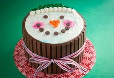 Smiling Snowman Cake
