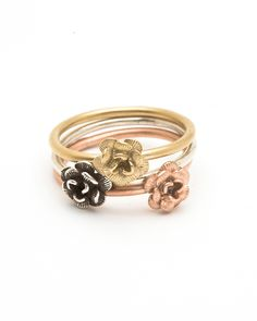Trio Colored Rose Ring Stack - JewelMint