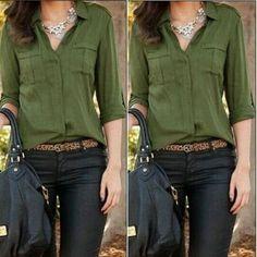 Fashion-Women-Button-Down-Shirt-Casual-Long-Sleeve-Slim-T-shirt-Tops-Blouse-NEW