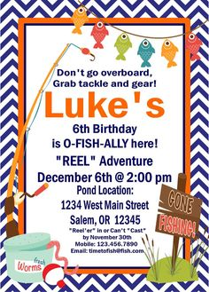 GONE FISHING Happy Birthday Party or Baby Shower by LolosBoutique
