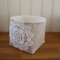 linen and lace - storage bin, small (basket, home decor, lace, white, beige, crochet, fabric)