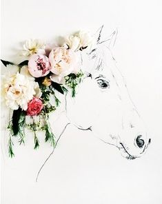 Can be used for 3D art project. Use real/fake (3D) flowers. Sketch of a horse.
