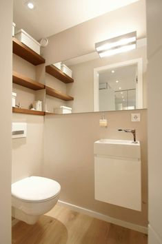 Wohnung k: badezimmer von bettina wittenberg innenarchitektur -stylingroom Find modern bathroom designs: Apartment K. Discover the most beautiful pictures to inspire the design of your dream home. Small Toilet Room, Guest Toilet, Downstairs Toilet, Bathroom Layout, Modern Bathroom Design, Bathroom Designs, Bathroom Ideas, Bad Inspiration, Bathroom Inspiration
