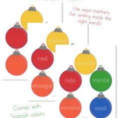 Color sight words using ornaments. Fun idea.