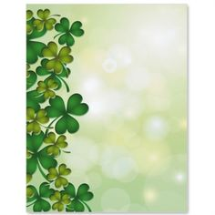 Saint Patrick's Day design printing paper: Clover Dance Border Papers | PaperDirect