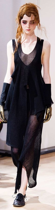 Yohji Yamamoto Collection Spring 2015 very nice design! #blackdress #2015womenfashion
