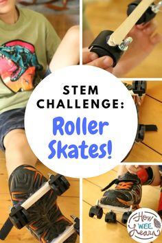 A great STEM challenge for kids: Make your own roller skates! This post has great tips about how to set up this simple challenge for your kids. Homemade roller skates are so much fun to make for the summer! Stem Challenges, Kids Learning Activities, Arts And Crafts Projects, Skates, Science Experiments, Big Kids, Preschool, Teacher, Homemade