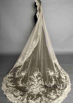 Custom White Ivory Wedding Veils Lace Appliques Long Cathedral Bridal Veil 1T 3M   eBay