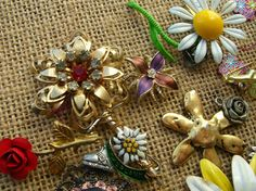 Flower Jewelry Scrap Lot - Junk Jewelry Lot - Destash Jewelry by BohemianGypsyCaravan
