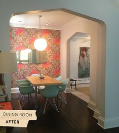 Sherry's dining room: they added the tudor style arches to their 1903 house; Wallpaper: Osbourne & Little; Paint: Every surface in this photo is Behr (Pure White)