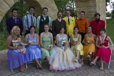 Rainbow wedding party featured on Offbeat Bride by Julia O'Shaughnessy, via Flickr
