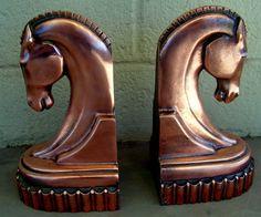 Vintage Copper Horse Head Bookends Art Deco Decor on Etsy, $45.00