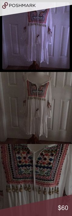 White Cold Shoulder Summer Dress. Gorgeous, Embellished, Detail Beyond Compare. Colors of Embellishment are: Red, Blue, Green, Silver Sequins, Beads, etc. See Pictures. Light and Breezy. Darling Dress.  Never Worn. Adorable Boston Proper Dresses