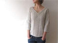 A cable design used as a focal point.  Ravelry: LaSauvage's torsades #2