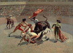 Frederic Remington Bull Fight in Mexico art painting for sale; Shop your favorite Frederic Remington Bull Fight in Mexico painting on canvas or frame at discount price. Frederic Remington, Most Famous Paintings, Art Paintings For Sale, Famous Artists, Oil Paintings, Manet, Santa Barbara Museum, Mexico Pictures, Mexico Art