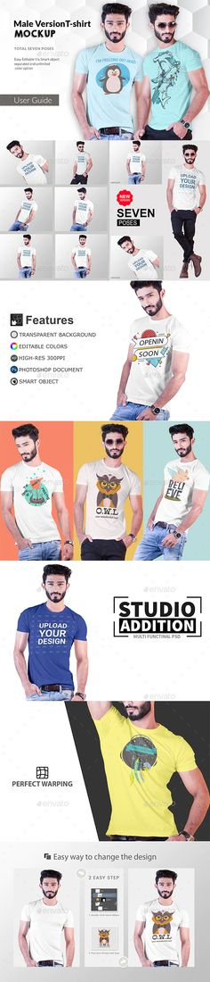 Buy Male t-shirt by teewinkle on GraphicRiver. Put simply, we set out to make the highest quality t-shirt Mockups available. This Photoshop mockup pack includes 7 d. 3d T Shirts, Cool T Shirts, Creative T Shirt Design, Male T Shirt, Mockup Templates, Design Templates, Shirt Template, Shirt Mockup, White T
