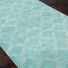aqua white quatrefoil pattern 5'x7'area rug | quatrefoil, aqua and