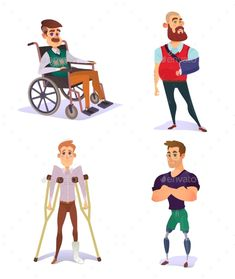 Set of Cartoon Illustrations of People