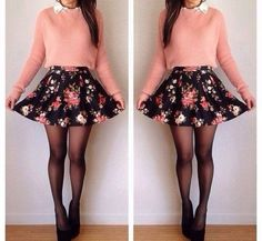floral skater skirt with pink sweater and black tights
