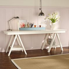 love this trestle table...would love to do a slightly more rustic version for home office...