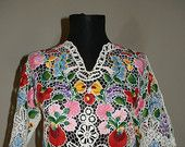 Handmade Embroidery Hungarian Kalocsa Blouse.İNFREQUENT !!!