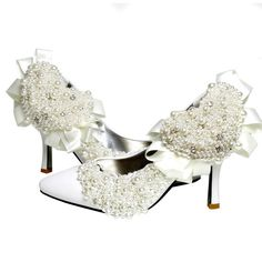 White Couture Baroque Wedding Bridal Evening Stiletto High Heels Shoes  SKU-1090361