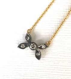 Your place to buy and sell all things handmade Diamond Flower, Diamond Cuts, Silver Tops, Gold Top, White Gold, Vintage Necklaces, Pendant Necklace, Georgian, Antiques