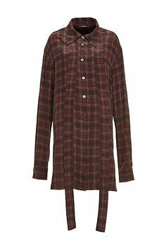 Oversized Plaid Crêpe de Chine Button Up Shirt